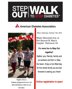 Ad for the Richmond Diabetes Walk placed in the 2nd Annual Garden Party event booklet.