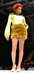 Lime Fur Accented Dress